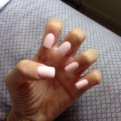 light pink powder acrylic nails