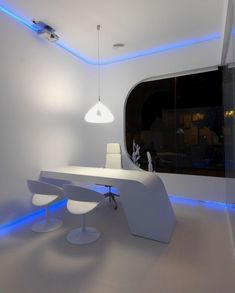 Furniture, Astonishing Blue Lighting Ideas For White Futuristic Office Furniture Decoration Plus Modern Pendant Also Swivel Chair Large Window Design Ideas: High Futuristic Office Furniture for Home Office Concept
