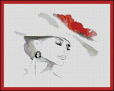 A Ladies Red Hat  - Counted Cross Stitch and Needle Point Chart Pattern. $18.00, via Etsy.