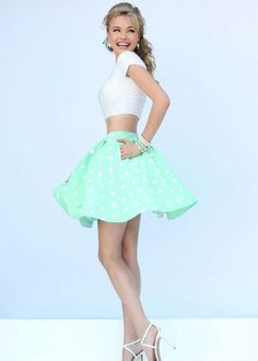 Ivory/Mint Sherri Hill 32247 Two Piece Keyhole Polka Dot Beaded Prom Dress 2015 Coral Homecoming Dresses, Prom Dresses 2015, Beaded Prom Dress, Prom Dresses Online, Dressy Dresses, Party Dresses, Two Piece Cocktail Dresses, Cocktail Dresses Online, Short Cocktail Dress