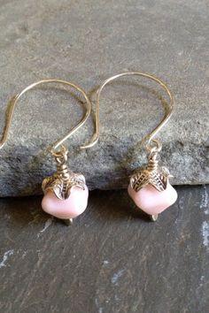 Pink Handblown Glass Earrings Dangle Earrings by LadonnaStudio, $29.00