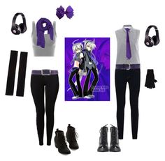 """""""Honne Dell and Haku Yowane Casual Cosplay, Vocaloid"""" by psychometorzi ❤ liked on Polyvore featuring MM6 Maison Margiela, J Brand, NIKE, Love Quotes Scarves, Hogan, Entrà, Brixton, Rick Owens and Beats by Dr. Dre"""