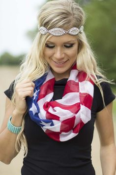 Home of the Free Scarf | This patriotic scarf is the perfect addition to a 4th of July Outfit for Women!