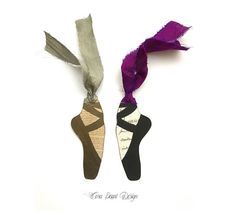 Pair of Pointe Shoe Bookmarks - French Manuscript Ballet Shoe Book Marks - Pointe Shoe Tags , Ballet Shoe Tags , Ballet Gifts - Ballerina Pointe Shoes, Ballet Shoes, Ballet Crafts, Artist Materials, Pearl Design, Silk Ribbon, Bookmarks, Ballerina, Pairs