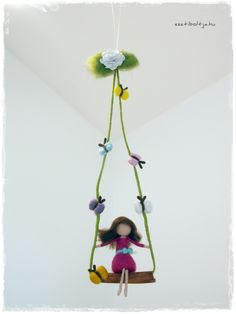 Like a fairy swing... needle felted art by esztiboltja.hu