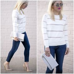 Cropped Skinny jeans with White pullover and Nude heels