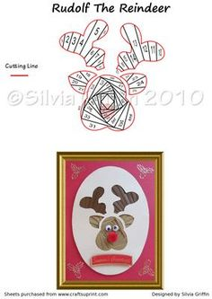 Rudolf the Reindeer with red nose on Craftsuprint designed by Silvia Griffin - Easy Cutting for this lovely Reindeer.I hope you get much use and enjoyment out of this pattern. Thank you for looking and please check out all my other designs :) - Now available for download!