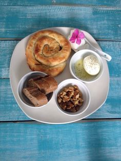 Breakfast, with spinach pie, walnut with greek honey, egg!