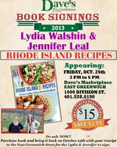 Book Signing & Recipe Sampling @Dave's Marketplace, this Friday, October 25th 3-6 pm in East Greenwich!