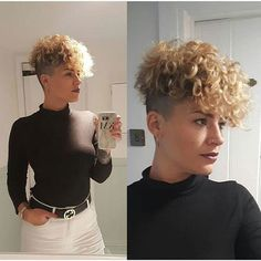 If you're tired of dealing with long curly hair, let's get you here. 22 Best of Curly Pixie Cut images to give you a new look. Blonde Curly Hair, Curly Hair With Bangs, Curly Hair Cuts, Short Hair Cuts, Curly Hair Styles, Natural Hair Styles, Short Curly Pixie, Short Curly Hairstyles For Women, Hairstyles With Bangs