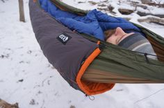 ENO Hammocks Vulcan Underquilt Review - if cinched up properly this will keep you so warm during winter camping