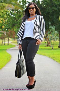 Making a Statement: Black & White Blazer and @Donna Maywald Navy Diva Skinny Jeans #Curvy #Blogger