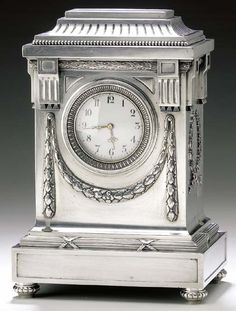 A silver mantle clock marked Fabergé with Imperial warrant, Moscow, Antique Clocks, Antique Silver, Vintage Clocks, Art Deco, Art Nouveau, Mantle Clock, Faberge Eggs, Imperial Russia, Bronze