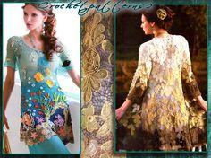 PDF ebook - crochet patterns. Women's crochet blouses, cardigan, tops, dresses, irish lace, tunics.  JM558