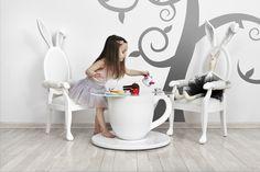 TEA-TIME TABLE and BUNNY CHAIR Jr. from the Alice Collection by BARSTE DESIGN. #furniture #aliceinwonderland #barste #barstedesign #luxurykids #baby #design #happiness #inspiration #luxury #dream #babyshower #kidsroom #babyroom #luxurydesign #decorideas #luxuryinteriors #kidsdesign #dreamroom #kidsbedroom #kidsfurniture #babydesign #babyfurniture #kidsroomideas /www.barste.com Custom Made Furniture, Baby Furniture, E Design, Baby Design, Luxury Interior, Interior Design, Girls World, Baby Room, Child Room