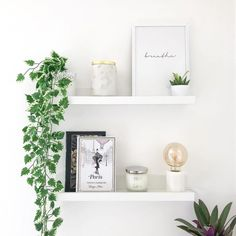 MOSSLANDA Picture ledge - white - IKEA - The Effective Pictures We Offer You About shabby chic decor A quality picture can tell you many th - Floating Shelves Bedroom, Floating Shelf Decor, White Floating Shelves, White Shelves, Ikea Wall Shelves, Wall Shelf Decor, Corner Shelves, Shelf Decorations, Bedroom Shelves