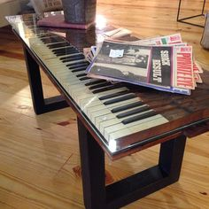 Cool table made from old piano keyboard