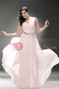 ブリリアントVネック半袖床長さイブニング/ウェディングドレス