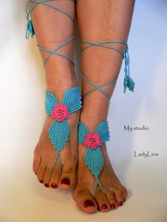 Crochet Barefoot Sandals, Barefoot Sandle, Foot jewelry, Steampunk, Foot Thongs, Sexy, Turquoise, GIFT WRAPPED