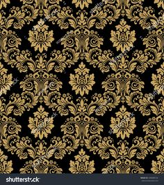 Floral pattern. Wallpaper baroque, damask. Seamless vector background. Gold and black ornament. Stylish graphic pattern.