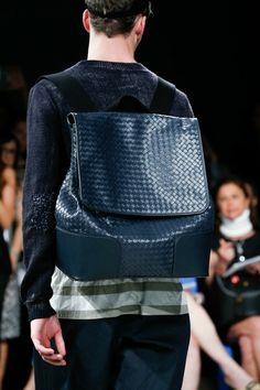 Itrecciato Backpack at Bottega Veneta   Spring 2015 Menswear Collection   Style.com