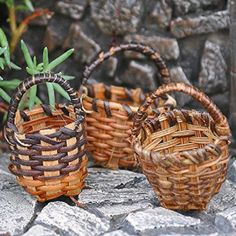 Round Fruit Baskets. www.teeliesfairygarden.com . . . Three lovely assorted fruit baskets that can be used for anything. May it be picking berries or transporting crops to the market! Your fairies would love it! #fairybasket