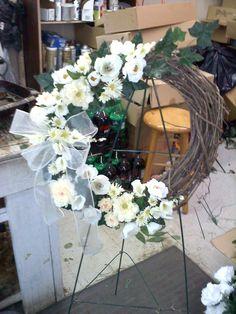 vintage cream and white grapevine wreath