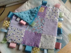 Patchwork and minky taggie made by a complete novice (i.e. me)
