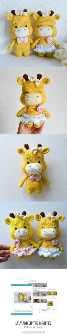 Lyly and Lip the Giraffes amigurumi pattern, Crochet Baby Toys, Crochet Art, Crochet Patterns Amigurumi, Crochet Gifts, Amigurumi Doll, Crochet Animals, Yarn Projects, Knitting Projects, Crochet Projects