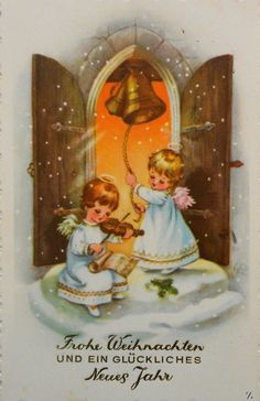 Vintage Angels Christmas Card ~Orange Sky (LUISE REIHER - 2 ENGEL läuten Glocken an der Himmelspforte - 1961 | eBay)