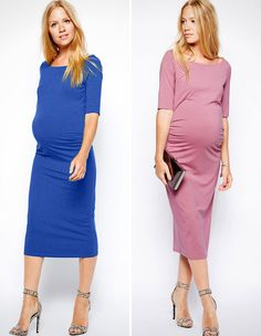 b2ce310807a0b Love the mid-calf length of this classy frock. Pregnancy Dress, Pregnancy  Fashion