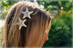 White Starfish Hair Clips, Sparkly Glitter Starfish with Aqua Teal Rhinestones, Two Included on Alligator Clips. $21.00, via Etsy.