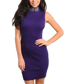 Take a look at this Purple Embellished Turtleneck Sweater Dress on zulily today!