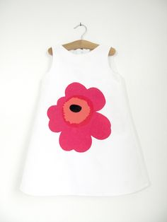 Organic Lucia Dress with a Red Marimekko Unikko Poppy applique, Age 3-4. £40.00, via Etsy.