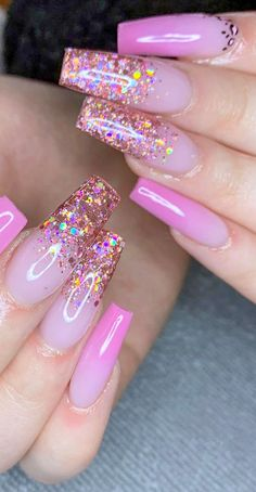 Pretty Pink Nail Art Designs for Beautiful Ladies in 2020 Part 37 ; pink nails with glitter accent; pink nails with rhinestones; Cute Acrylic Nail Designs, Ombre Nail Designs, Nail Art Designs, Nails Design, Pink Nail Art, Pink Acrylic Nails, Coffin Nails Long, Fire Nails, Rhinestone Nails
