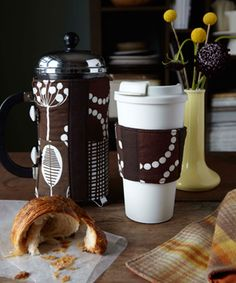 French Press + Coffee Cup Cozies ~ Pattern, Tutorial + Giveaway from Sewing for All Seasons
