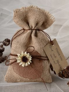 destination Favor Bag, Rustic Wedding, Wedding Favor Bag , Burlap Favor Bag , Wedding thank you bag, Rustic gift bag,lets love grow