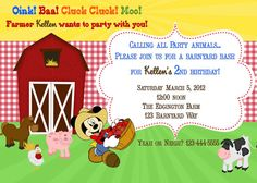 Farm Invitation with or without Mickey or Minnie by ckfireboots, $10.00