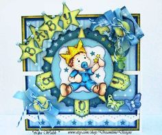 Baby Boy Handmade Card - Magnolia Edwin by DreamtimeDesigns  Skin: E0000, 000, 00, 11 Hair/Boots: E50, 51, 53, 57  Outfit: B02, 93, 95, 97 Crown: Y00, 06, 08, 17