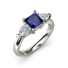 The Trina Ring customized in blue sapphire, diamond and gold