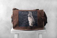Messenger Bag  Woodland Bunny Photograph  Java by BucktoothedBunny, $40.00