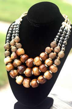 African-Inspired Batik Brown Bone, Brass and Ivory Statement Necklace Wooden Necklace, Gold Pendant Necklace, Wooden Jewelry, Handmade Jewelry, Beaded Necklace, African Beads, African Jewelry, Tribal Jewelry, Nice Jewelry