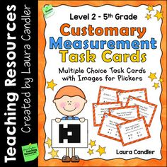 Measurement Task Cards Level 2 | 5th Grade | Includes Images for Plickers