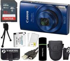 Canon PowerShot ELPH 190 IS 20.2MP 10x Zoom Wi-Fi Digital Camera (Blue) + SanDisk 32GB Card + Reader + Spare Battery + Case + Accessory Bundle. Kit Includes 12 Products: Canon PowerShot ELPH 190 IS Digital Camera + NB-11LH Lithium-Ion Battery Pack + CB-2LF Battery Charger + WS-800 Wrist Strap + Limited 1-Year Warranty. SanDisk 32 GB 320x UHS-I Class 10 High-Speed SDHC Memory Card + Card Reader + Memory Card Wallet + Spare Battery + Tabletop Tripod + Padded Camera Case + USB Interface Cable…