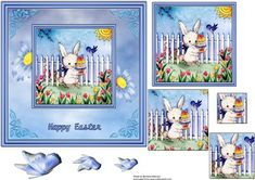 Cute Easter Bunny with blue daisies on Craftsuprint designed by Barbara Alderson - pyramid topper on a card front - Now available for download!