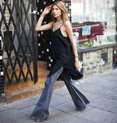 maja wyh look calça flare blusa preta