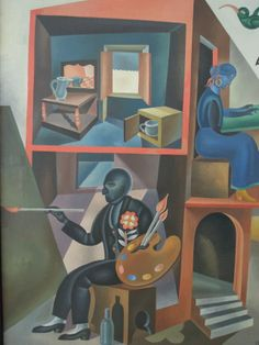 Fortunato Depero, Io e mia moglie (Me and my wife), 1919. Oil on canvas. Courtesy of Center for Italian Modern Art, New York.
