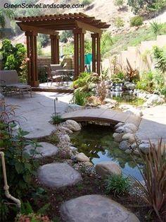 40 Stunning Mini Koi Pond with Bridge for Relaxing Backyard - Daily Home List Fish Pond Gardens, Garden Pond, Water Garden, Low Maintenance Garden Design, Ponds Backyard, Koi Ponds, Backyard Waterfalls, Backyard Pergola, Pergola Plans