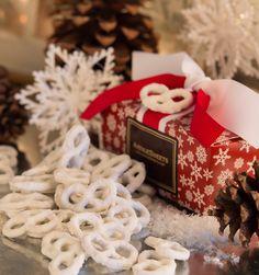 Yogurt Covered Pretzels in Red Snowflake Gift Box