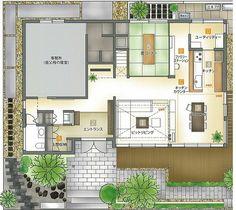 イズ・ロイエ岡山南店|岡山県|住宅展示場案内(モデルハウス)|積水ハウス Japanese Architecture, Minka, Japanese House, Architectural Elements, Townhouse, Floor Plans, Flooring, How To Plan, Perspective
